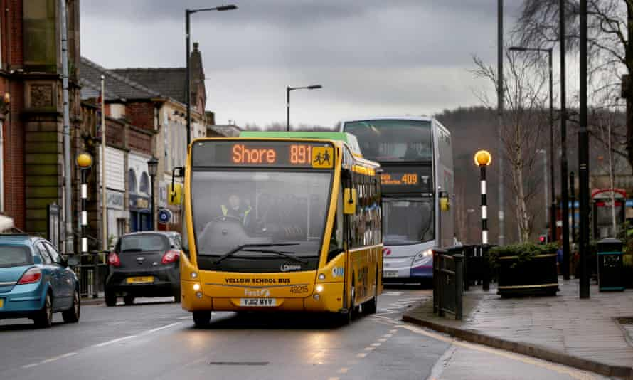 Buses on Rochdale Road in Royton