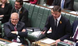 Angus Taylor reacts to Labor's line of questioning during question time on Tuesday.