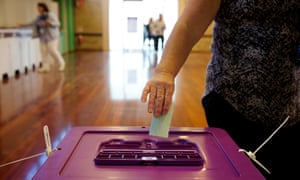 Voters posting their ballots in Western Australia