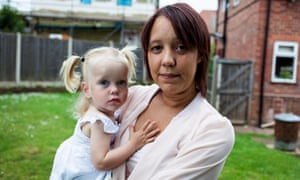 Lynette Wallace and Charna, then two, pictured at their home in Aspley, Nottingham, in 2013.