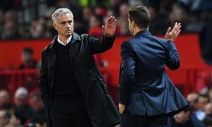 José Mourinho embraces Mauricio Pochettino at full-time.