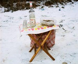 Home-distilled horinca in Maramures, Romania.