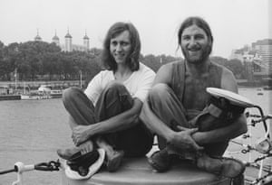 Hodges (right) and Peacock on board HMS Belfast on the Thames, August 1975