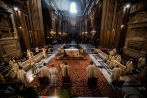 Rome, Italy: holy mass in Coena Domini of the Conventual Friars Minor, in the Basilica of the Holy Apostles, streamed during the coronavirus pandemic