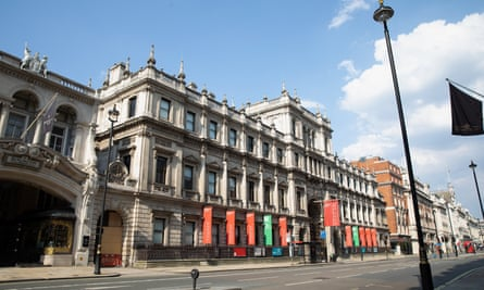 A closed Royal Academy of Arts in central London in April