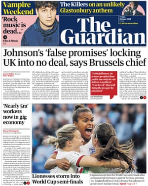 Guardian front page, Friday 28 June 2019