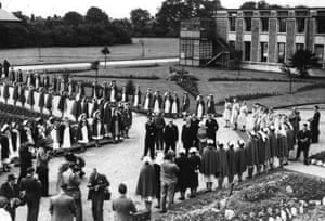 Aneurin Bevan visits Trafford General, the first NHS hospital, in 1948. Here he inspects the nurses and staff lined up outside