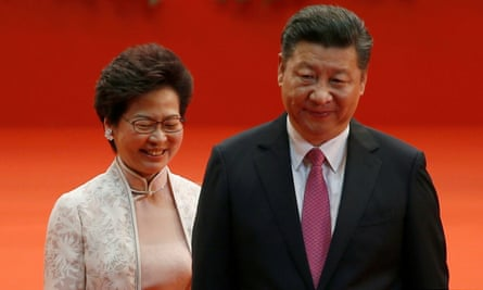 The Hong Kong chief executive, Carrie Lam, with the Chinese president, Xi Jinping, in 2017