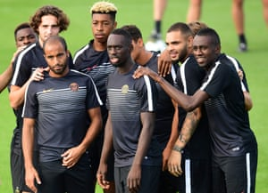 Paris Saint-Germain players take part in a training session on the eve of the UEFA Champions League match against Arsenal at the Ooredoo training centre in Saint-Germain-en-Laye, outside Paris.