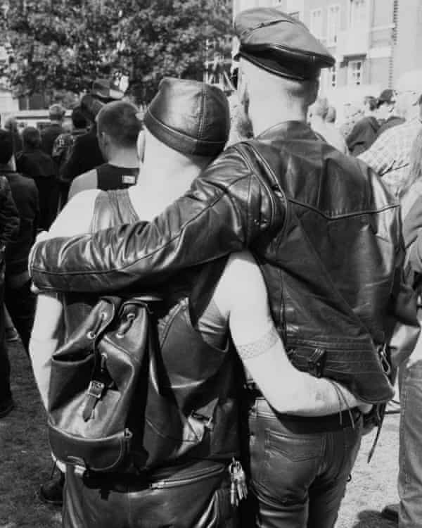 A gay couple at an S&M Pride march in London, 1995