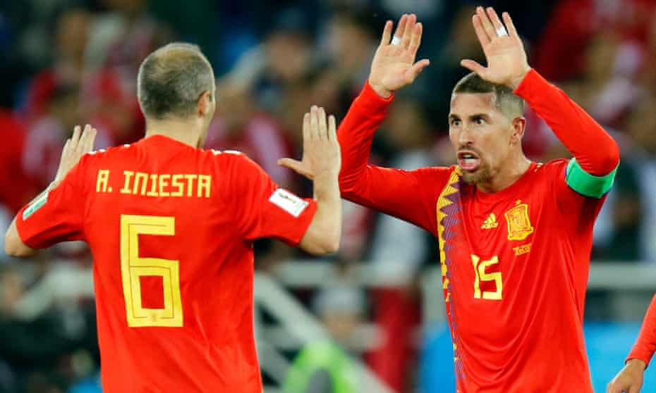 Andres Iniesta and Sergio Ramos celebrate their late equaliser against Morocco but know Spain must tighten up as the tournament progresses