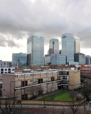 Canary Wharf financial district towers over Poplar in east London.