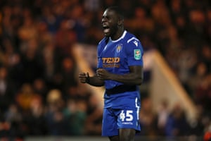Colchester United's Frank Nouble celebrates his penalty.