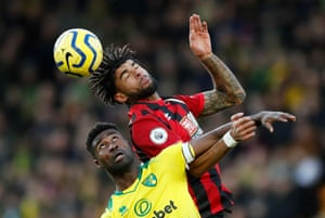 Norwich City's Alexander Tettey in action with Bournemouth's Philip Billing. Bournemouth's season is collapsing and the Cherries, beaten 1-0, are now marooned in the bottom three. Norwich remain last but are now just six points from safety.