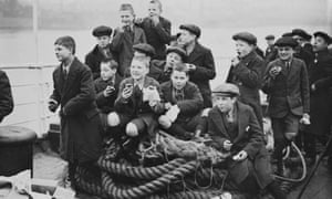Boys from Dr Barnardo's homes aboard the ocean liner Largo Bay as they emigrate to Australia in 1948.