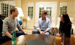 Nick Clegg, with Facebook's Mark Zuckerberg and Sheryl Sandberg.