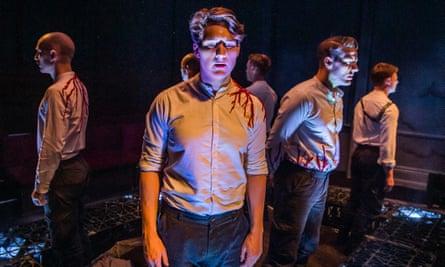 (including Stuart Nunn, centre) in Bury the Dead at Finborough theatre, London.