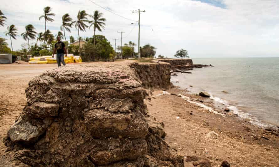 The community has built seawalls in Saibai to keep the sea at bay during the rainy season.
