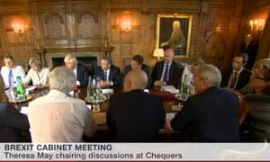 Theresa May addressing cabinet.