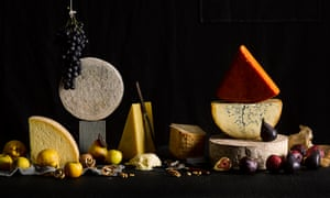 Photograph of lots of different types of cheese