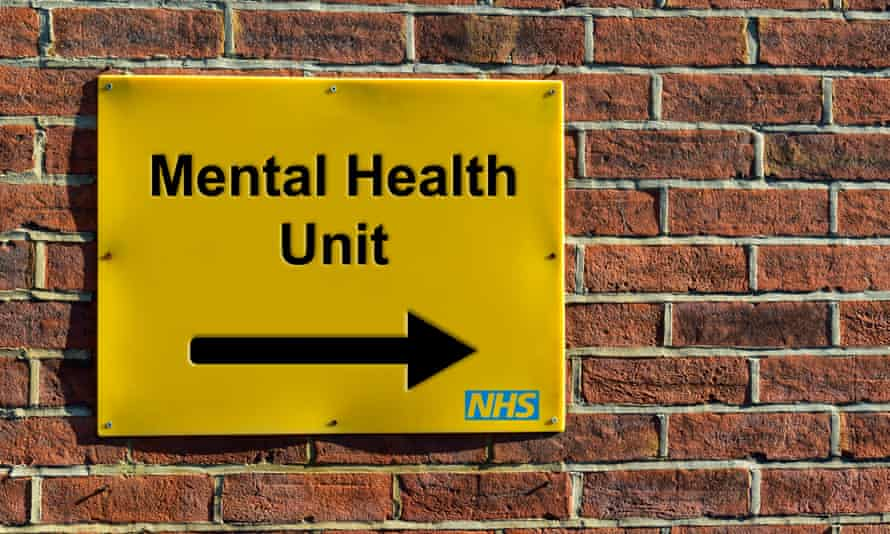 Mental Health Unit, NHS wall mounted direction sign