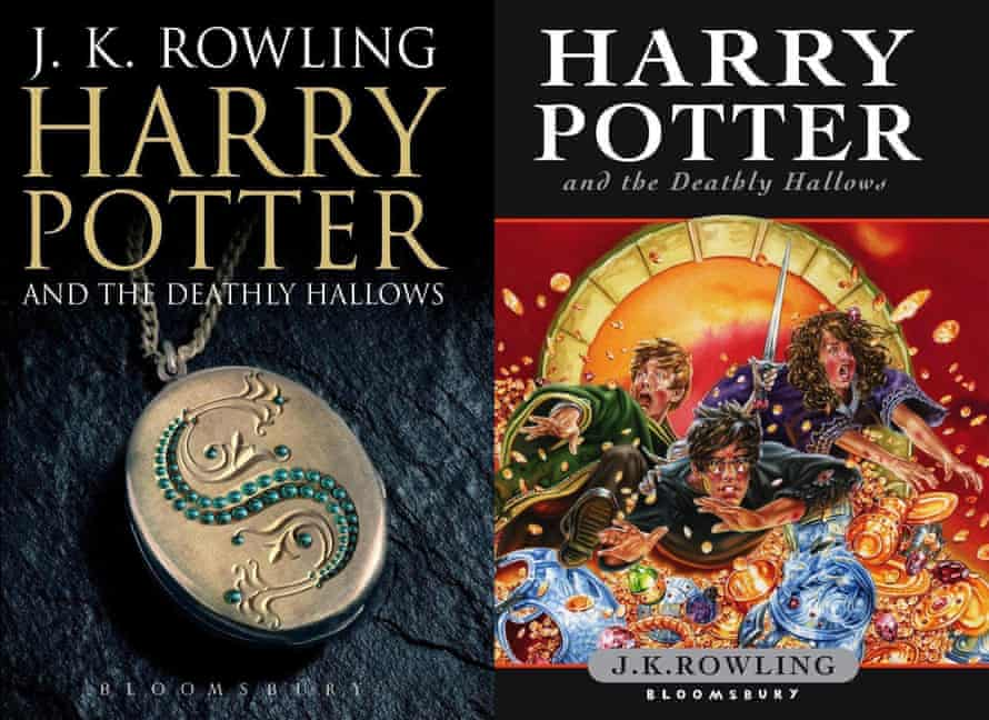 The covers for the seventh and final novel in JK Rowling's Harry Potter series, Harry Potter and the Deathly Hallows.