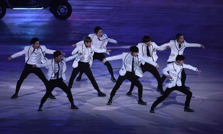 EXO perform during the Closing Ceremony of the PyeongChang 2018 Winter Olympic Games