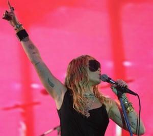 A new, darker era ... Miley Cyrus on stage at BBC Radio 1's Big Weekend.