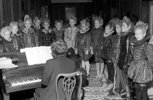 Fairies around the piano, 1981: Members of Trinity Boys Choir