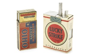 The Lucky Strike Camera was developed for the US Signal Corps between 1949 and 1950, but never made it past the prototype stage. Only two were made – the other is in the Signal Corps museum in New Jersey. <br>The 'cigarettes' sticking out of the top of the packet acted as the camera's controls. Designed to be just slightly smaller than a real Lucky Strike packet, it meant the camera could slip neatly inside a real box. On the left is a light meter disguised as a pacted of Ohio Safety matches.