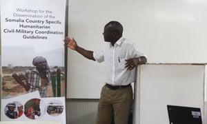 An Amisom liaison officer, Abdul Diabagate, speaks at a workshop in Kismayu, Somalia.