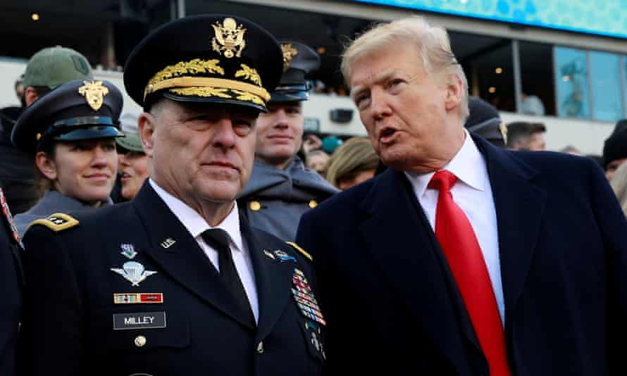 Donald Trump and Gen Mark Milley, who reportedly feared a coup by the president's supporters.