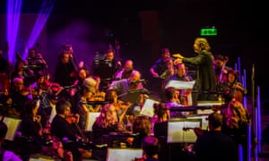 Greg Lawson conducts the Grit Orchestra at the Celtic Connections opening night last week.