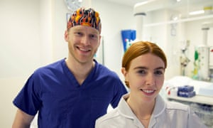 Jonnie Peacock and Stacey Dooley ready for work at King's College hospital.
