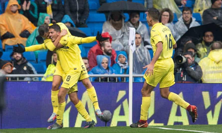 Pablo Fornals celebrates scoring for Villarreal at Real Madrid on 13 January 2018.