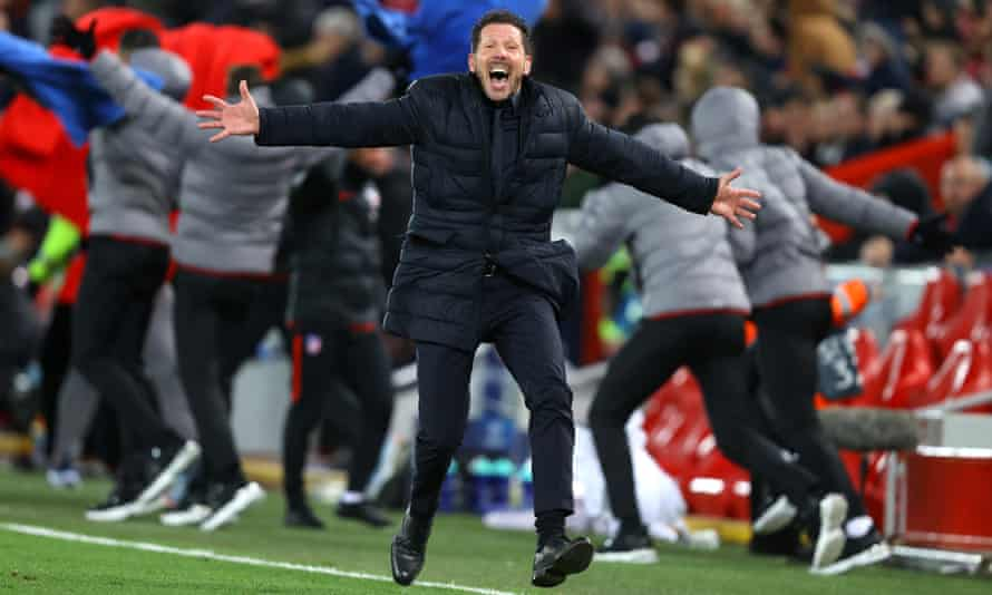 Diego Simeone is elated on the touchline as his side came back from 2-0 down in extra time to win 3-2 on the night and 4-2 on aggregate.