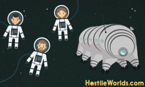 The Hostile Worlds podcast team with their Tardigrade