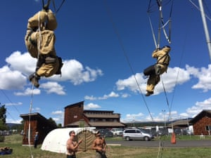 Smokejumpers train at their base.
