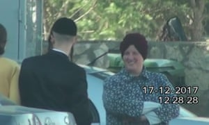 A moment from the footage captured covertly of Malka Leifer in the West Bank settlement of Emmanuel in December 2017, after an Israeli court ruled she was mentally unfit to stand trial.