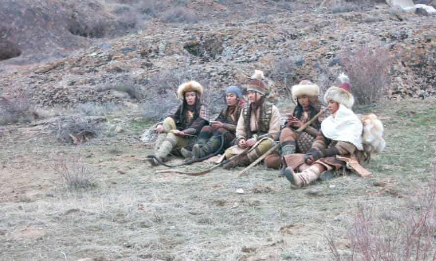 Extras hang around during filming of The Kazakh Khanate.