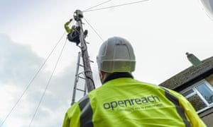 BT Openreach workers working on telegraph pole