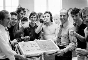 Aston Villa manager Ron Saunders, right, and player Ray Graydon show off a celebration cake after their 2-0 win in their Second Division match against Sunderland at Villa Park in April 1975. The victory sealed their promotion to Divison One
