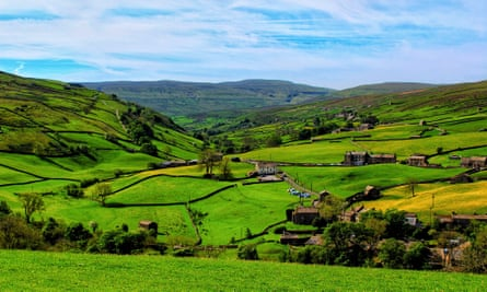 Farmland at Keld in Swaledale, about 30 miles north of Skipton in Yorkshire. Only 10% of land in the UK has open access