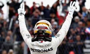 Lewis Hamilton celebrates securing pole for the US Grand Prix at Circuit of The Americas in Austin, Texas.