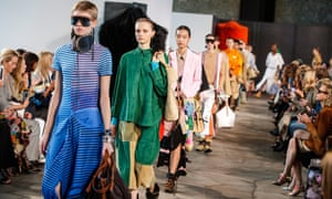 Models on the Loewe catwalk at Paris fashion week
