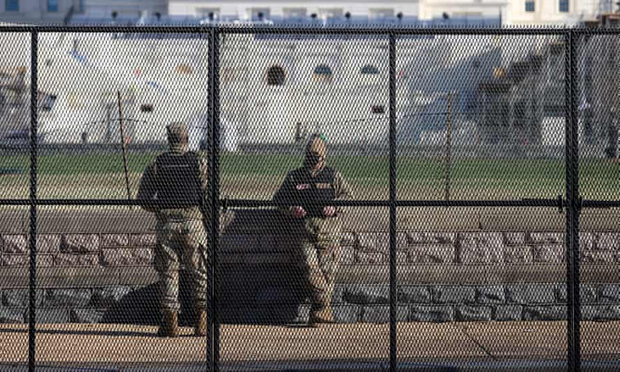 National guards outside the US Capitol.