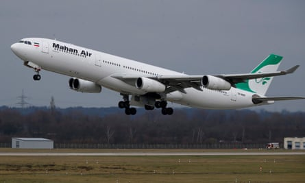 The Mahan Air plane landed in Beirut after encountering US fighter jets over Syria. Some passengers suffered minor injuries.