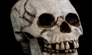 An old human skull in in 3/4 profile against black background