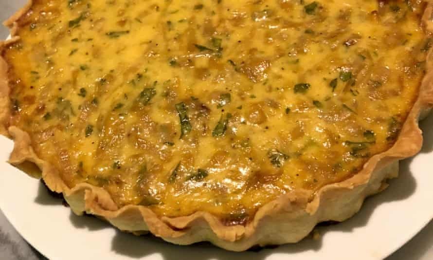 'Hopkinson allows for additions, so I add a dollop of Dijon, a little grated parmesan and parsley': onion tart.