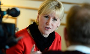 Swedish foreign minister Margot Wallstrom gestures during a media interview. Saudi Arabia recalled its ambassador to Sweden after a diplomatic row between the two countries followed Wallstrom's criticism of the kingdom's human rights record.